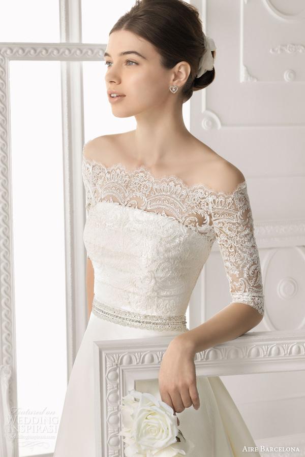 aire-barcelona-bridal-2014-orleans-wedding-dress-off-shoulder-lace-jacket-half-sleeves